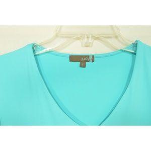 Judy P Tops - Judy P top SZ S  aqua silky v-neck 3/4 sleeves lin